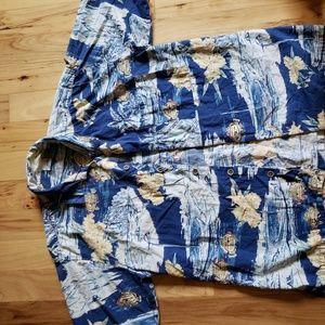 Op mens hawaiian button down shirt size L